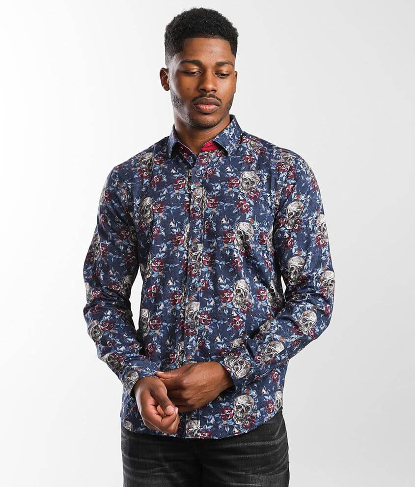 Eight X Skull & Floral Print Shirt front view