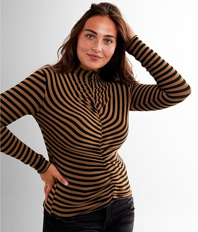red by BKE Striped Mock Neck Top