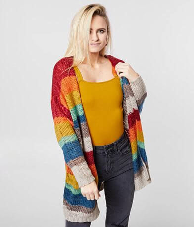BKE Rainbow Striped Cardigan Sweater