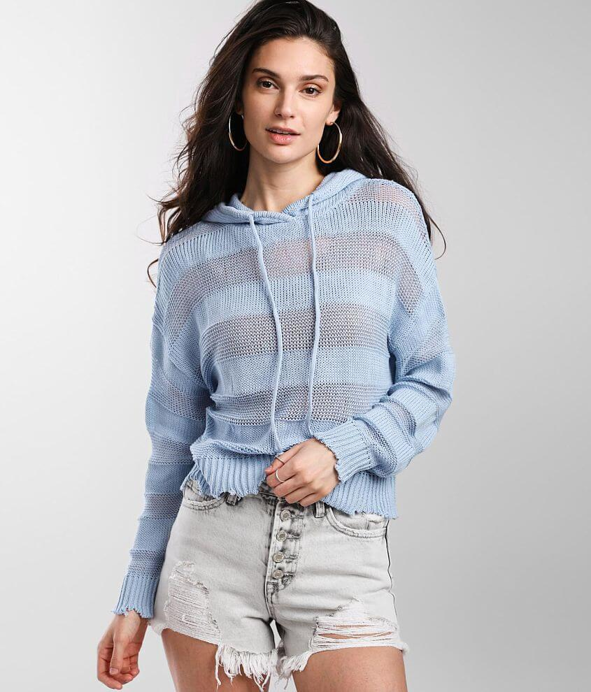 BKE Ribbed Open Weave Hooded Sweater front view