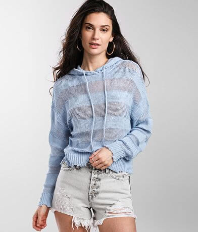 BKE Ribbed Open Weave Hooded Sweater