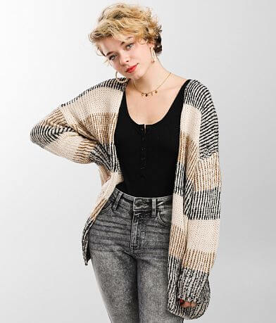 BKE Striped Cardigan Sweater