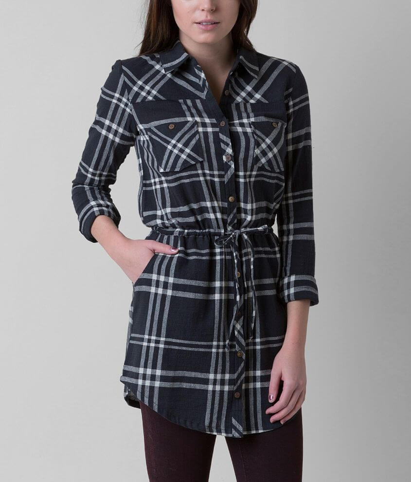 Element Madly Plaid Tunic Shirt front view