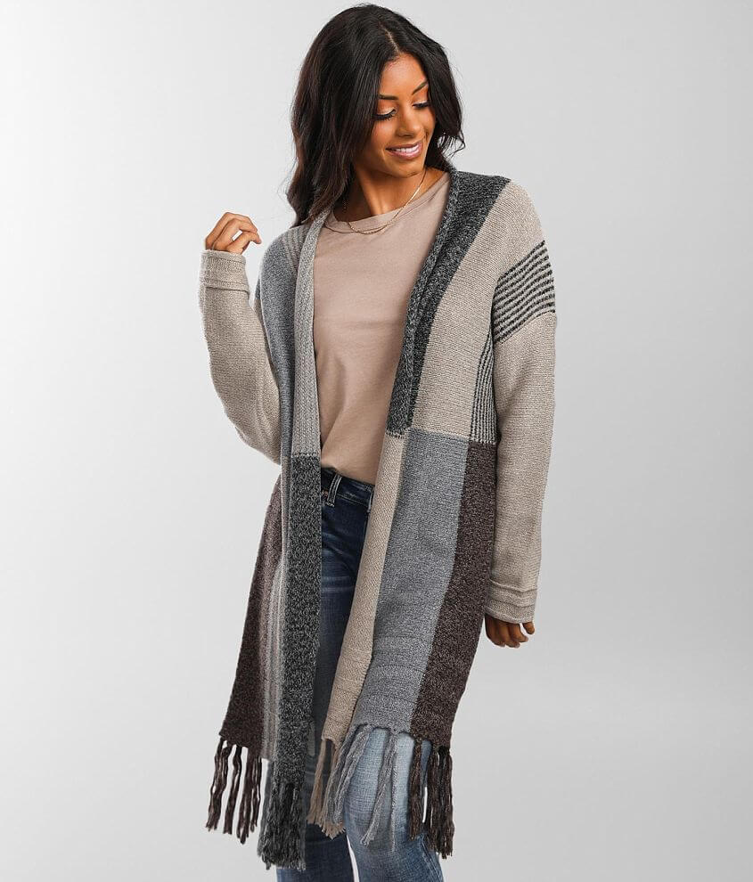 Buckle Black Color Block Duster Cardigan Sweater front view