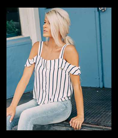 En Crème Striped Cold Shoulder Top