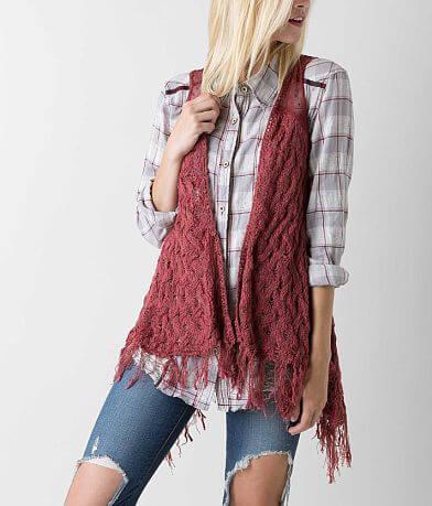 En Crème Fringe Sweater Vest
