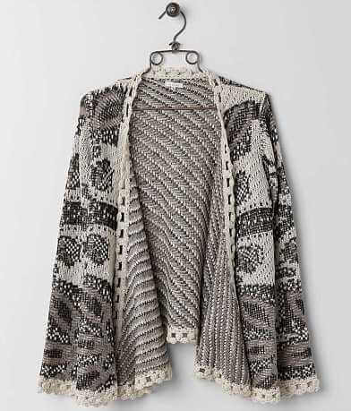 En Crème Open Weave Cardigan Sweater