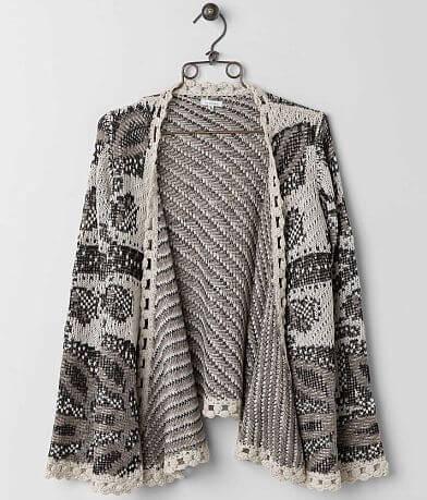 En Crème Open Weave Cardigan Sweater