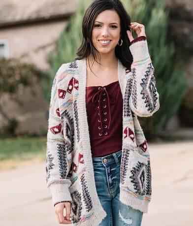 En Creme Southwestern Metallic Cardigan Sweater