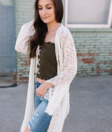 En Creme Open Weave Cardigan Sweater