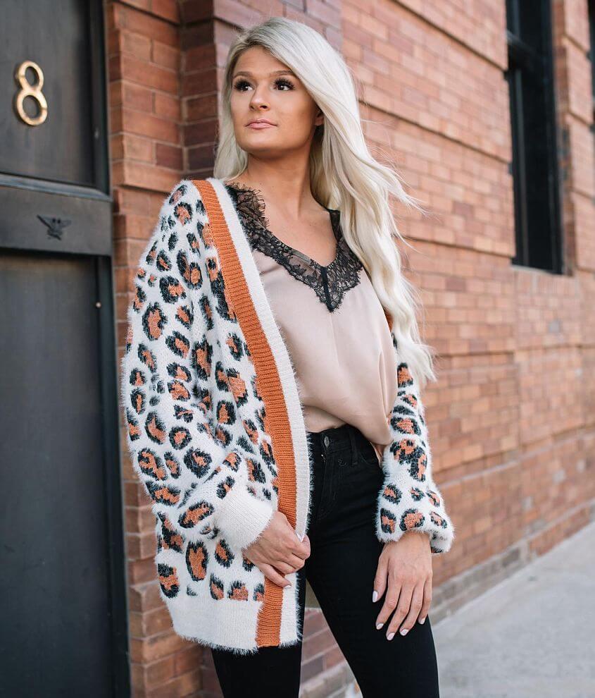 En Creme Leopard Print Cardigan Sweater front view