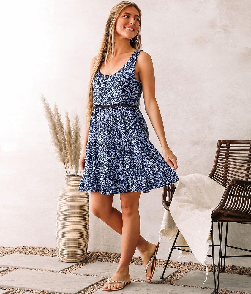 En Creme Tiered Ruffle Hem Mini Dress front view