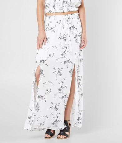 En Crème Floral Embroidered Maxi Skirt