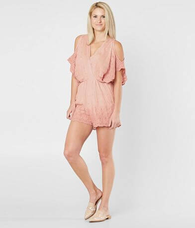 En Crème Embroidered Cold Shoulder Romper