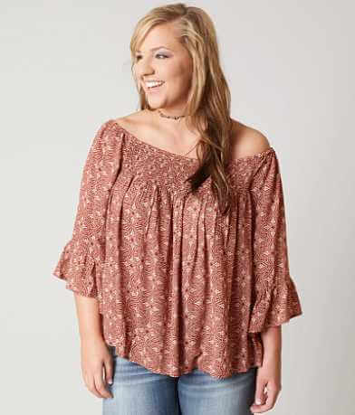 En Crème Printed Top - Plus Size Only