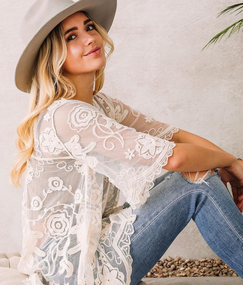En Creme Floral Embroidered Lace Top front view