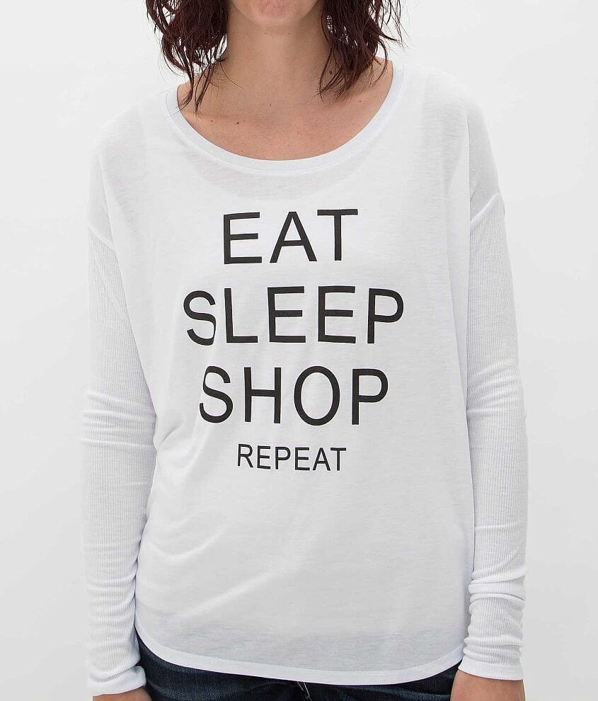 Retro Brand Eat Sleep Shop Repeat T-Shirt front view
