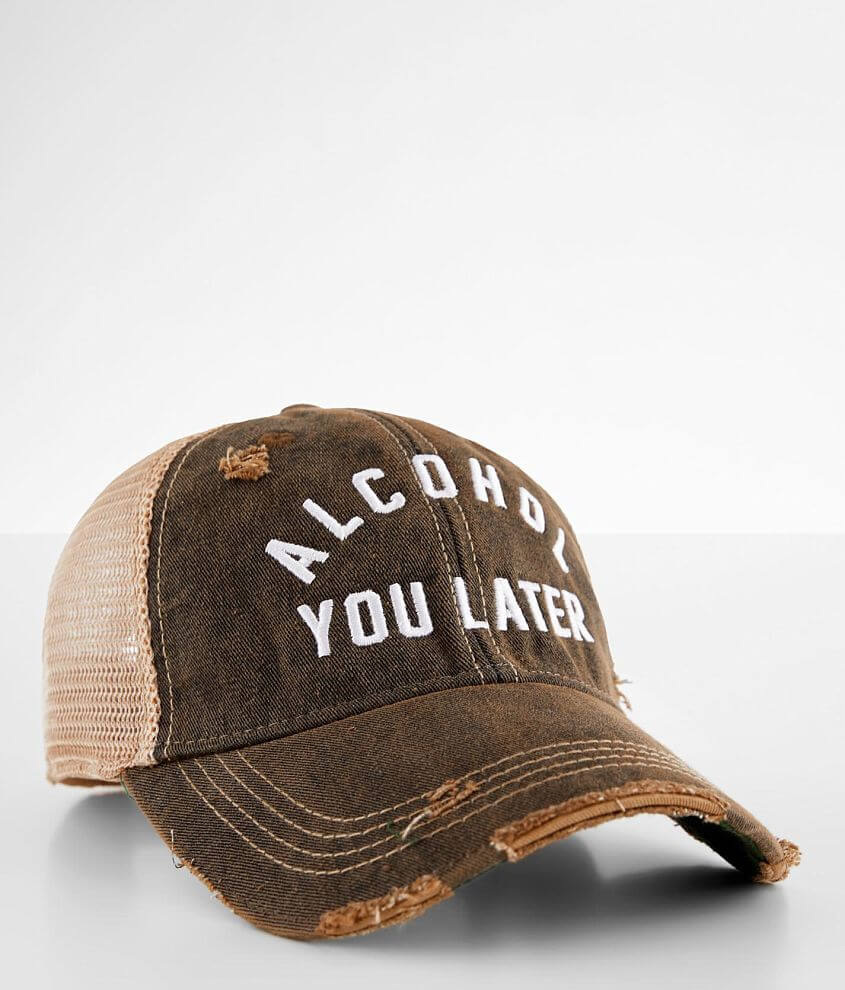 Retro Brand Alcohol You Later Washed Baseball Hat front view