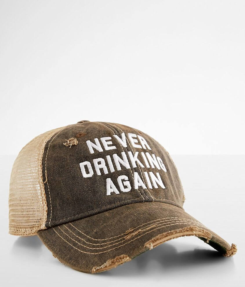 Retro Brand Never Drinking Again Baseball Hat front view