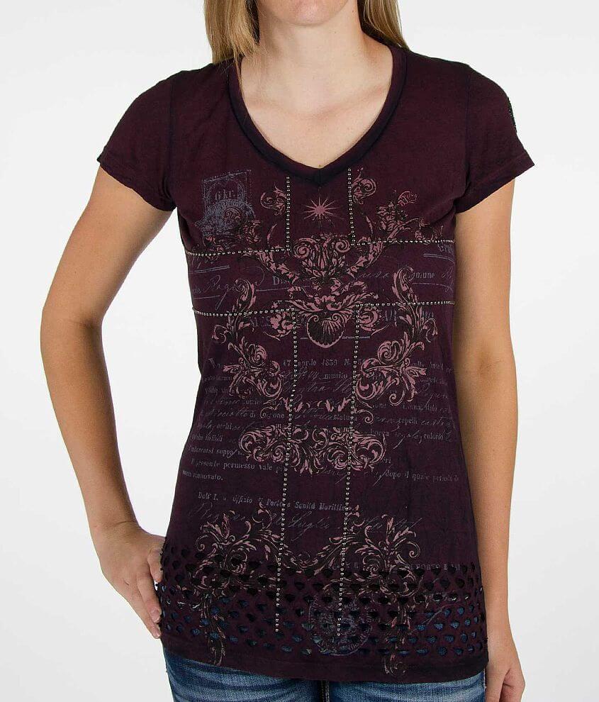 Velvet Stone Lattice Britt T-Shirt front view