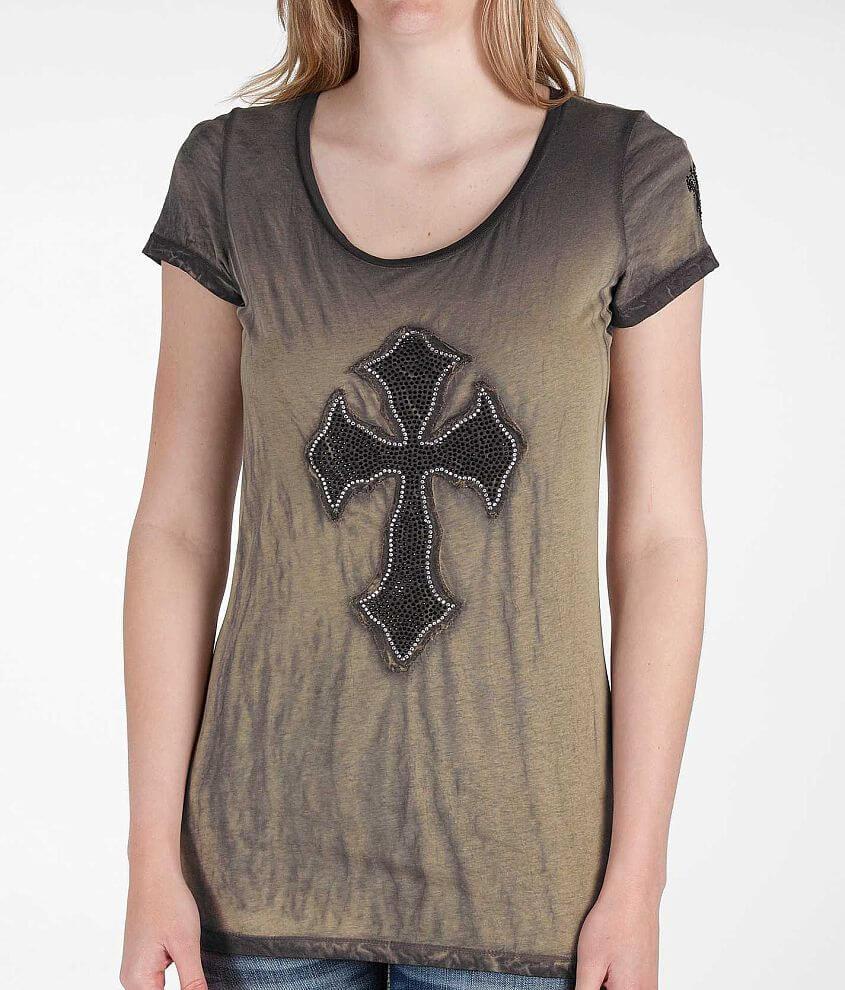 Velvet Stone Rhinestone Cross T-Shirt front view