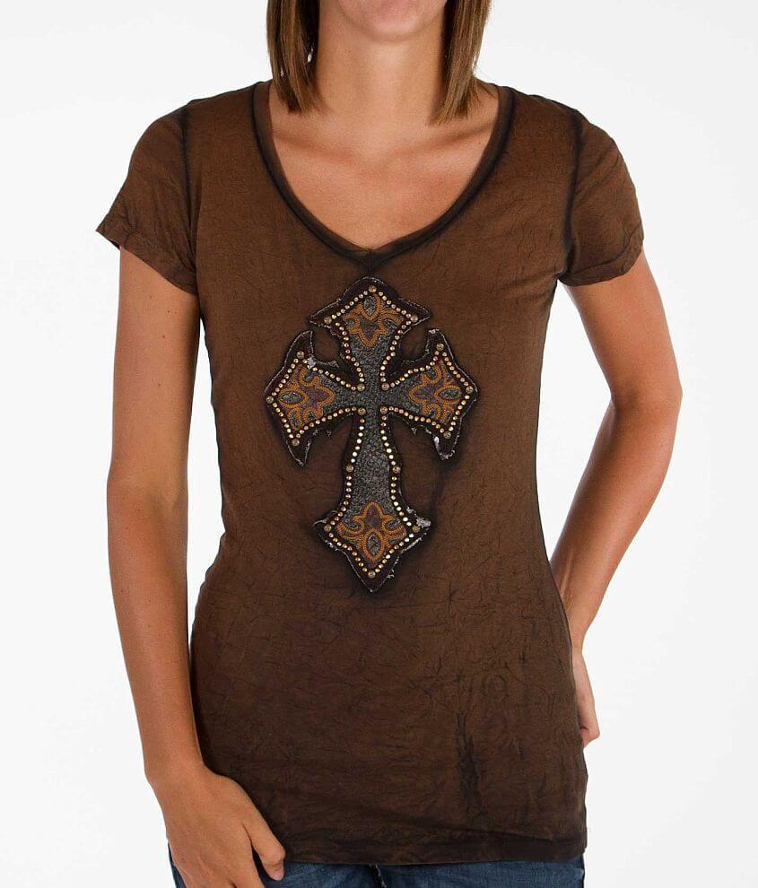 Velvet Stone Cross T-Shirt front view