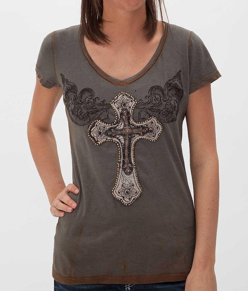 Velvet Stone Swirl Cross T-Shirt front view