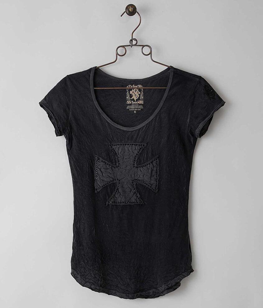 Velvet Stone Diamond Cross T-Shirt front view