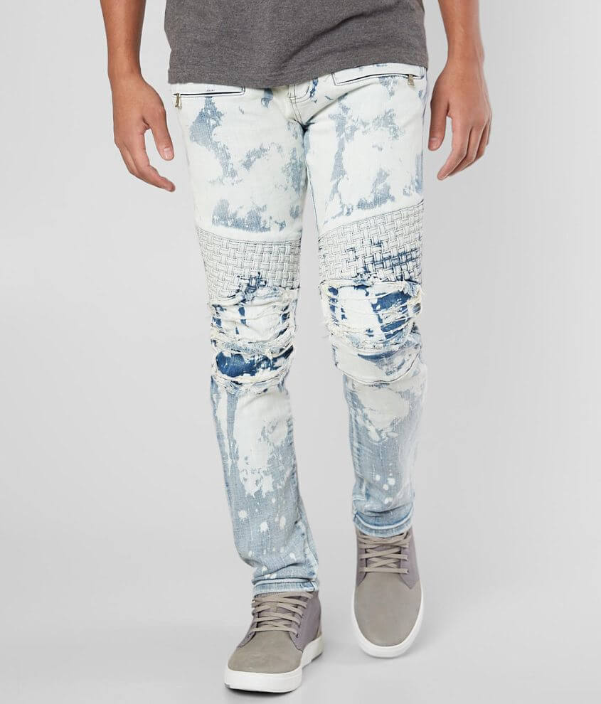 DOPE Nicks Bleached Moto Stretch Jean front view