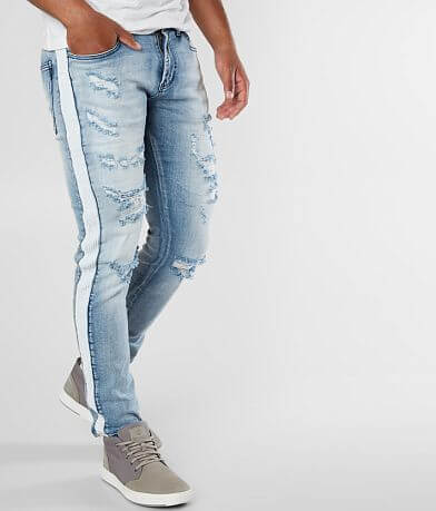 DOPE White Stripe Tapered Stretch Jean