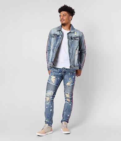 DOPE Stripe Moto Taper Stretch Jean