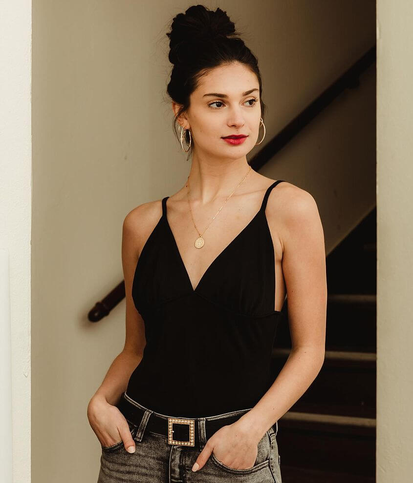 grehy Deep V-Neck Backless Bodysuit front view