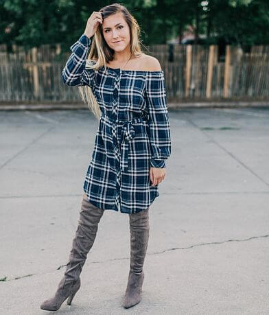 willow & root Off The Shoulder Plaid Dress