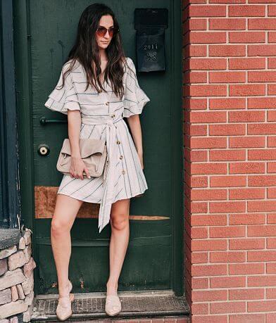 Essue Striped V-Neck Dress