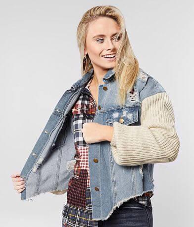 Essue Sweater Sleeve Denim Jacket