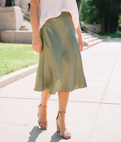 Essue Solid Satin Midi Skirt