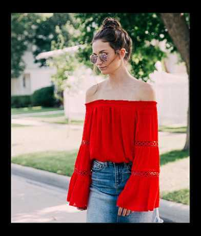 Essue Off The Shoulder Swiss Dot Top