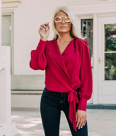 willow & root Chiffon Wrap Top