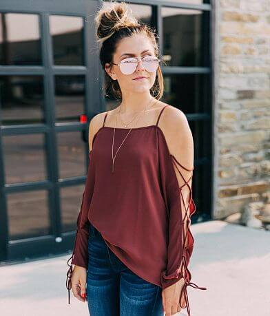 willow & root Cold Shoulder Chiffon Top