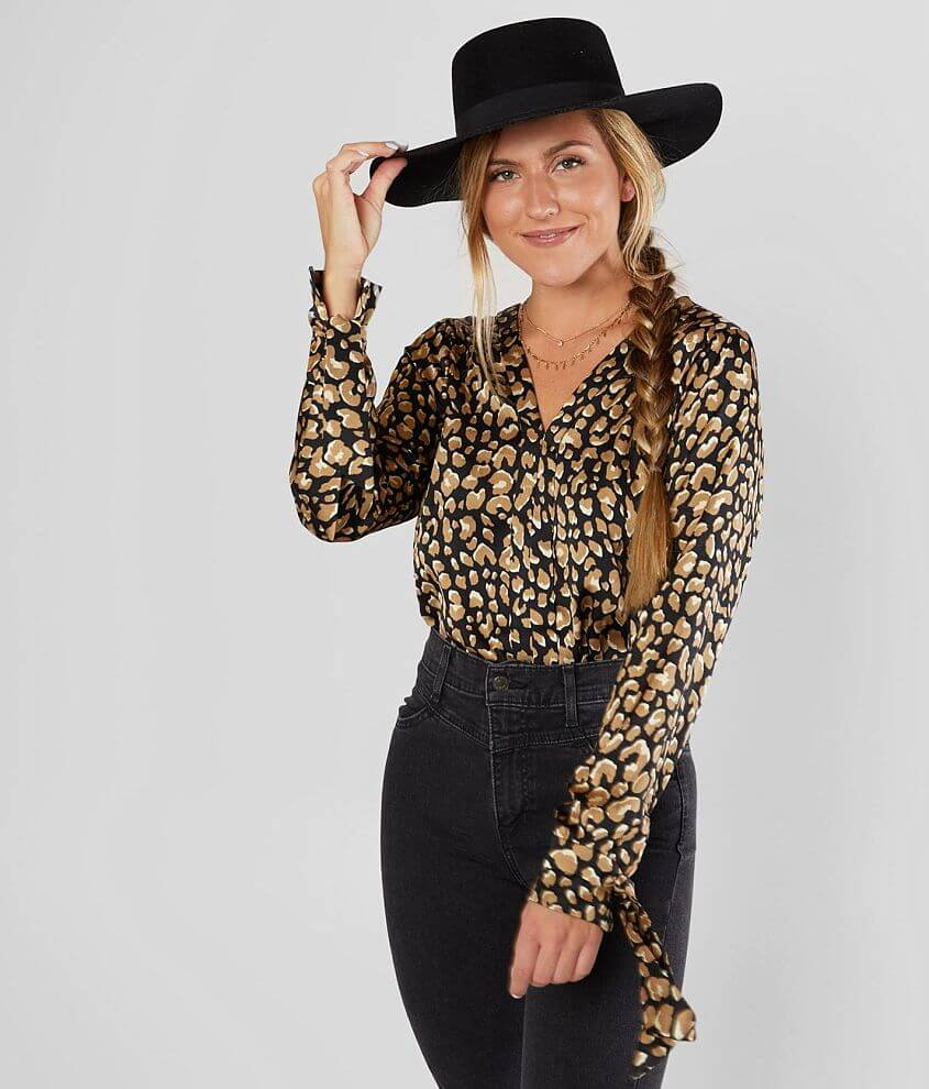 Willow & Root Animal Print Blouse front view