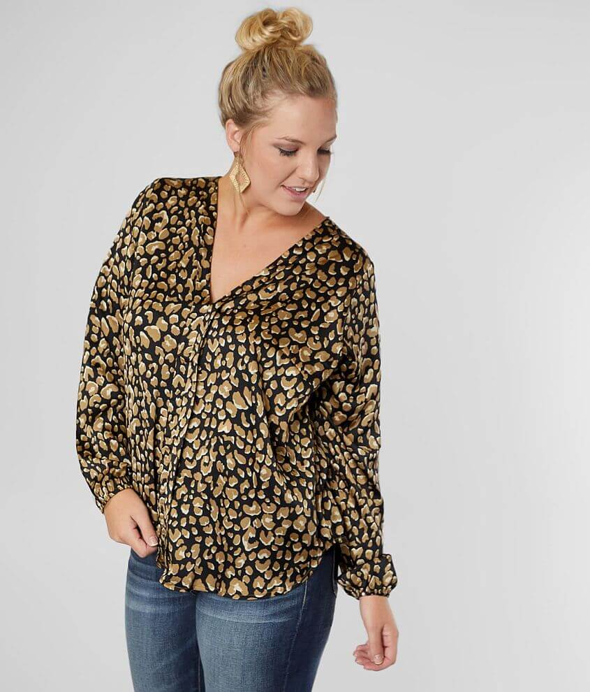 Willow & Root Animal Print Blouse - Plus Size front view
