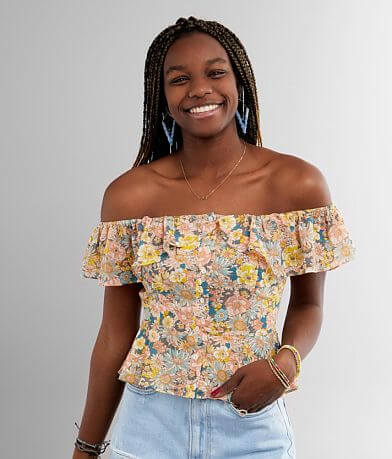Essue Floral Off The Shoulder Chiffon Top
