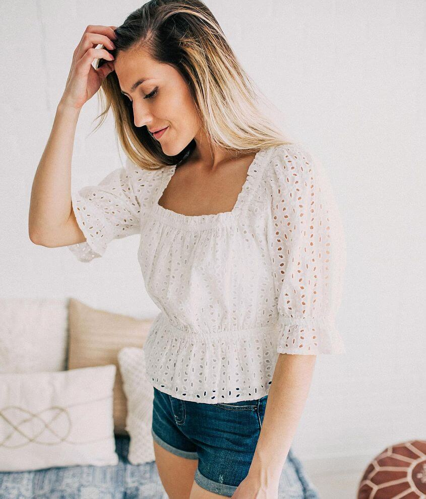 Willow & Root Eyelet Peplum Top front view