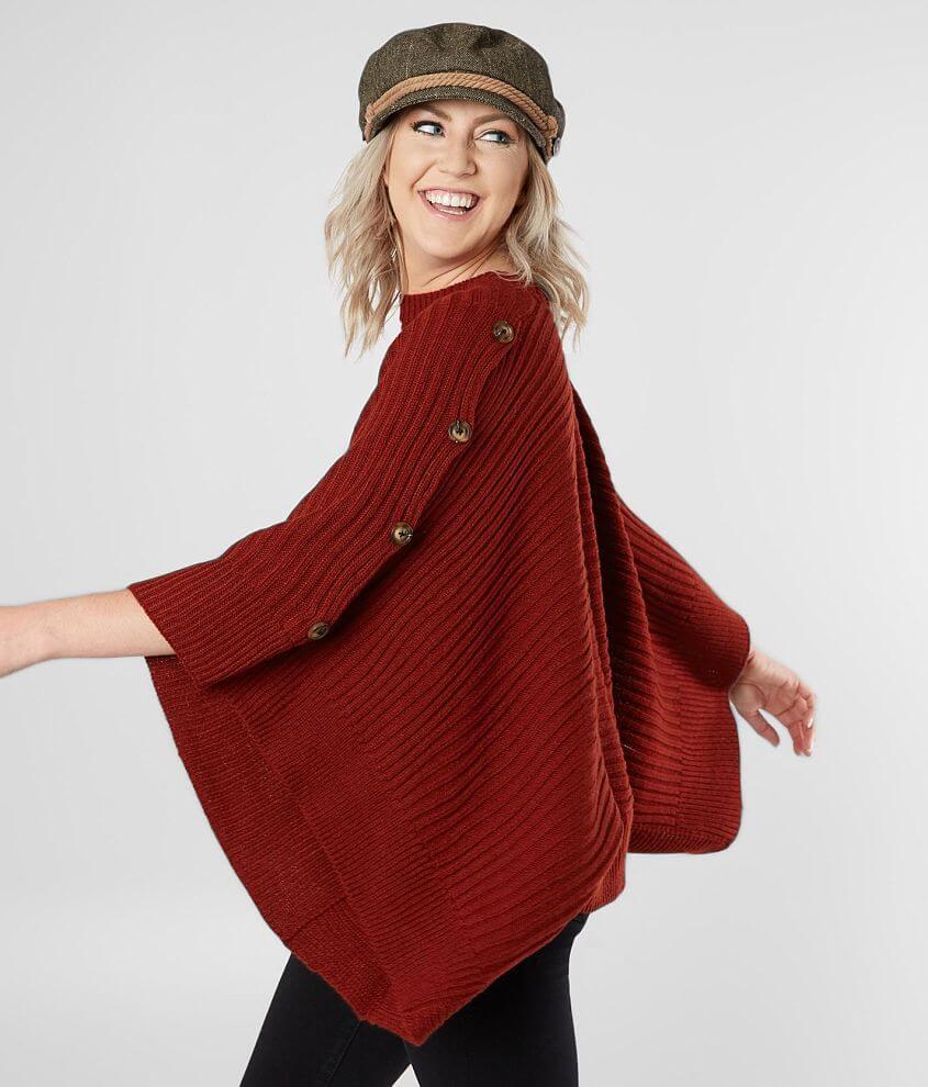 Style LW20475/Sku 603279 Faux button knit poncho sweater Body length 22\\\