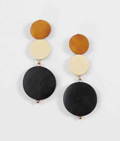 BKE Wood Circle Earrings