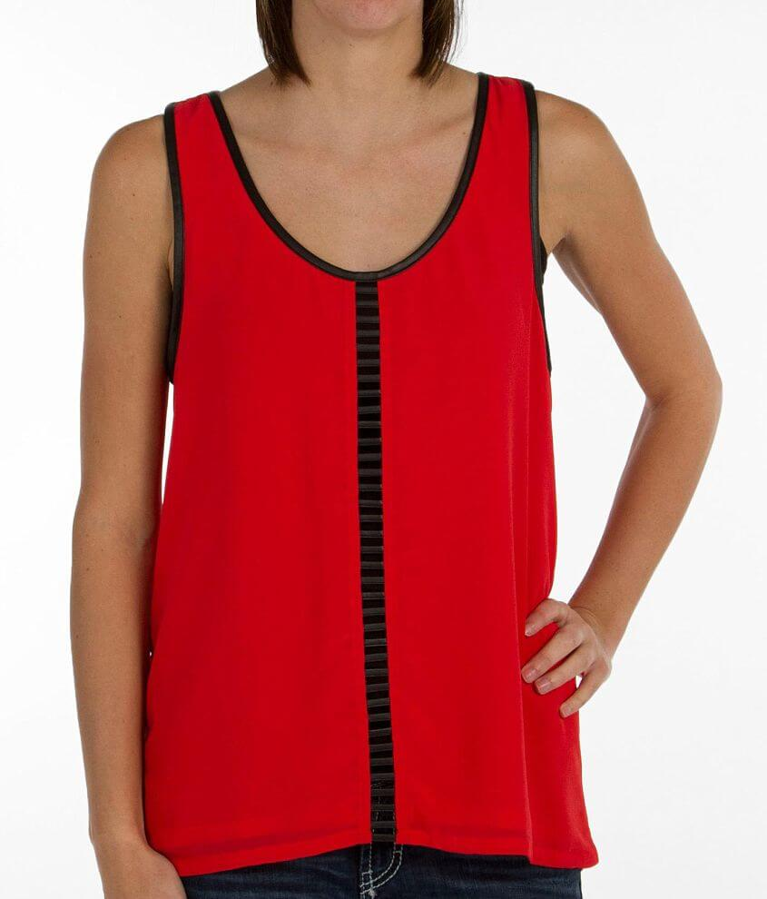 Daytrip Pieced Faux Leather Tank Top front view