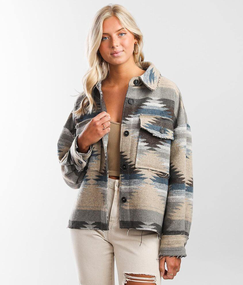 BKE Aztec Flannel Shacket front view