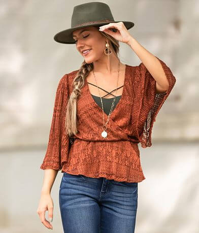 Willow & Root Lace Surplice Top