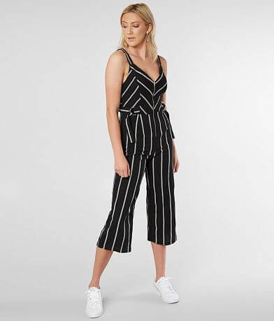 Inspired Hearts Woven Striped Jumpsuit