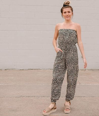 Willow & Root Strapless Printed Jumpsuit